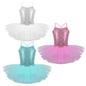 Kids-Girls-Seuqins-Ballet-Dance-Tutu-Dress-Gymnastics-Dancewear-Lyrical-Costumes