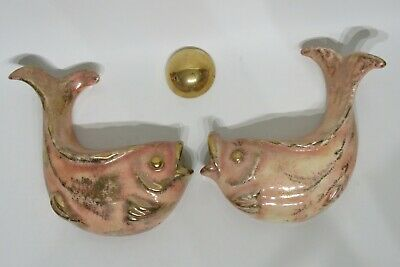 Vintage Pink Gold 2 Fish Gold Bubble Ceramic Bathroom Wall Decoration Ebay