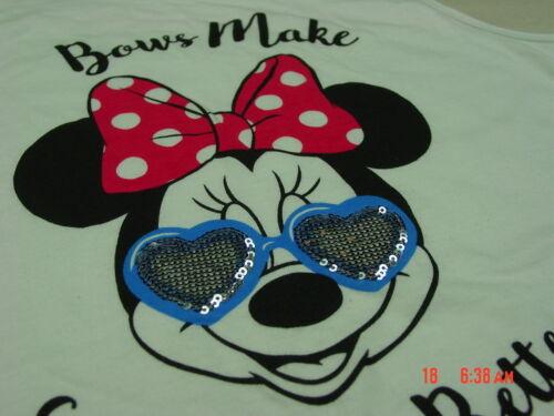 NWT Girls 2 piece Set Disney Minnie Mouse Top Skort  Sequins Bow Black
