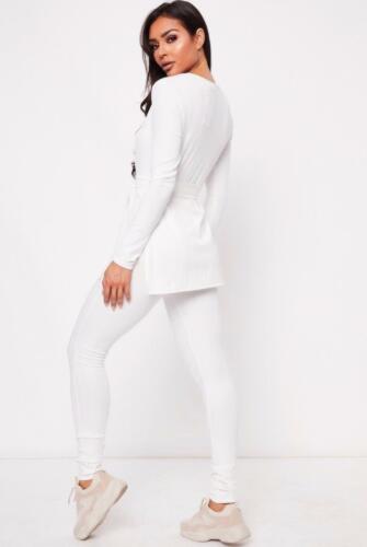2Pcs Lounge Set Womens Boxy Ribbed Loungewear Tracksuit Sports Jogging Top Pant