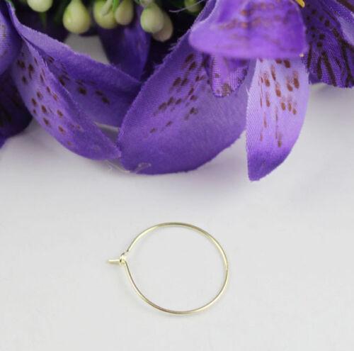 Or 100PCS plaque de verre à vin charme Wire Hoop earings 20 mm #22527