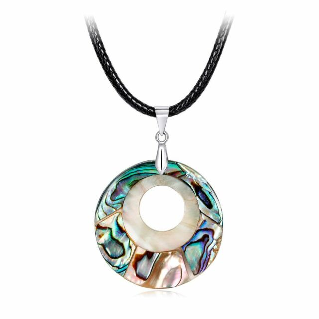 Round Nature Abalone Shell Pendant Necklace Sweater Chain Jewelry Gifts o