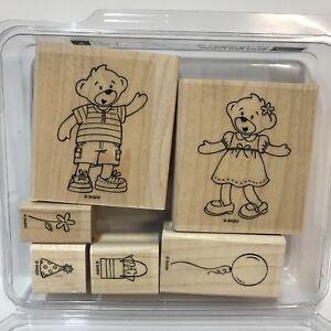 Stampin-Up-Build-A-Bear-Workshop-Beary-Best-Friends-Rubber-Stamp-Set-Boy-Girl-WM