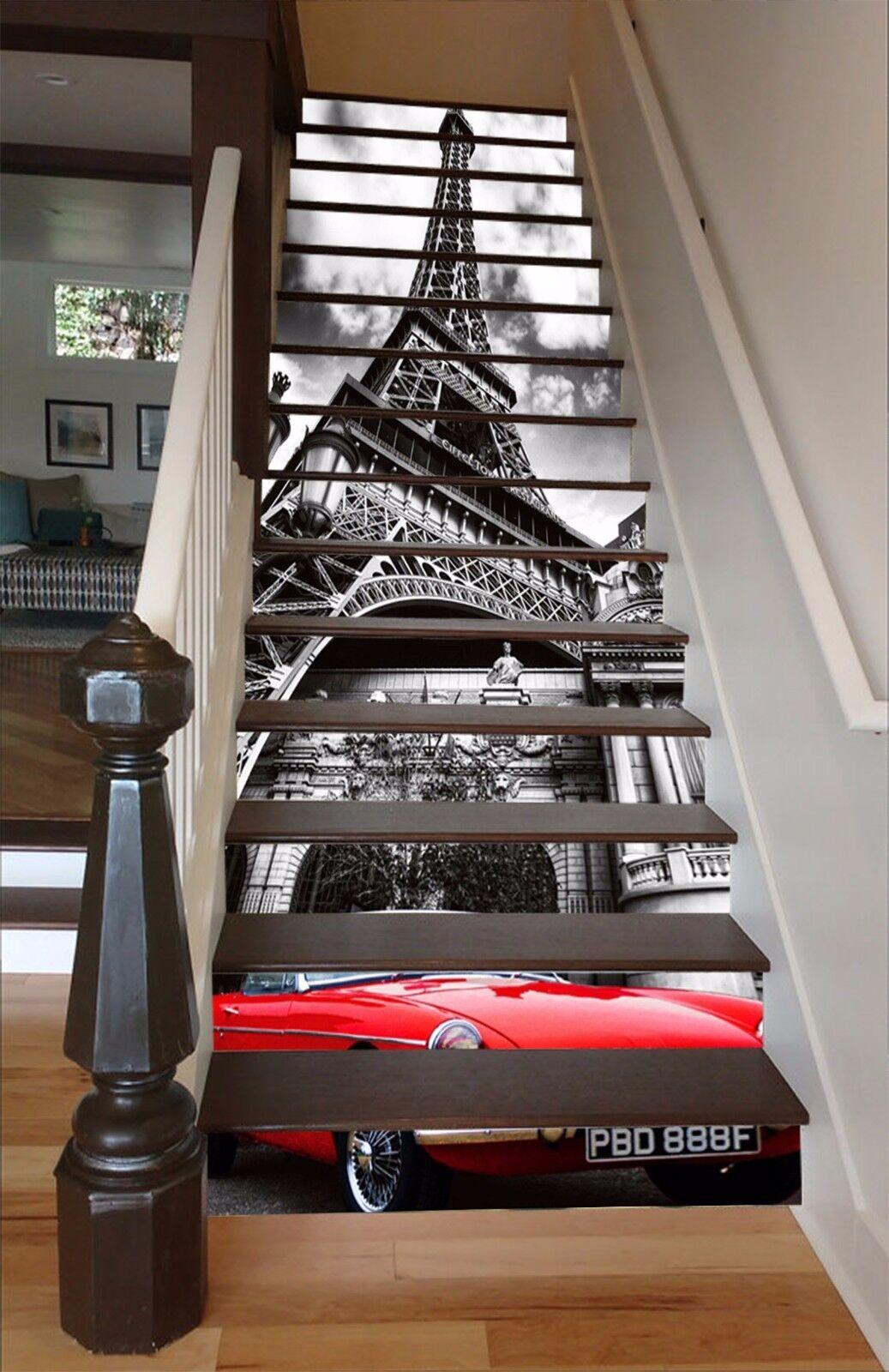 3D Tour Eiffel Voiture 445 contremarches Décoration Photo Murale Autocollant Vinyle Papier Peint US