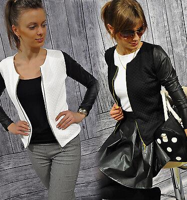 NEU Damen Cardigan STRICKJACKE Bolero Steppjacke mit Kunstleder-Ärmel S-XXXXL