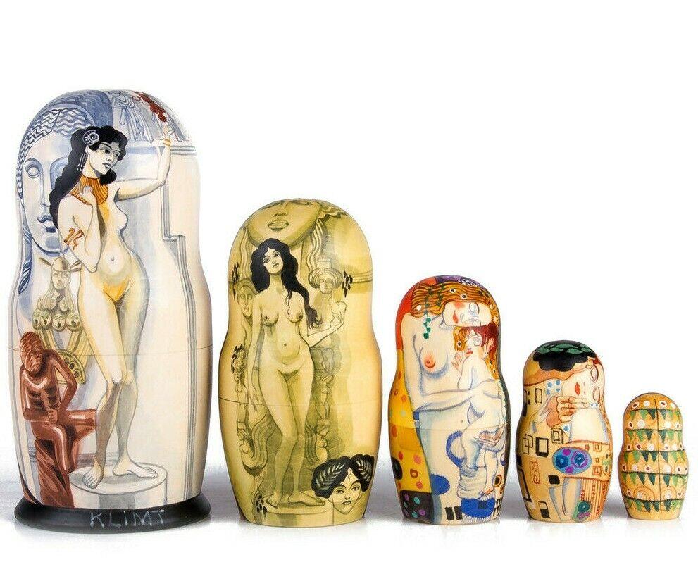 7  Klimt allégorie de la  Sculpture Poupees Russes. Peint à la Main Russe Matriochka  pas cher en ligne
