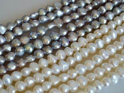 9 to 10 mm Large Hole Silver Gray Potato Freshwater Pearl Beads 2 mm Hole #02