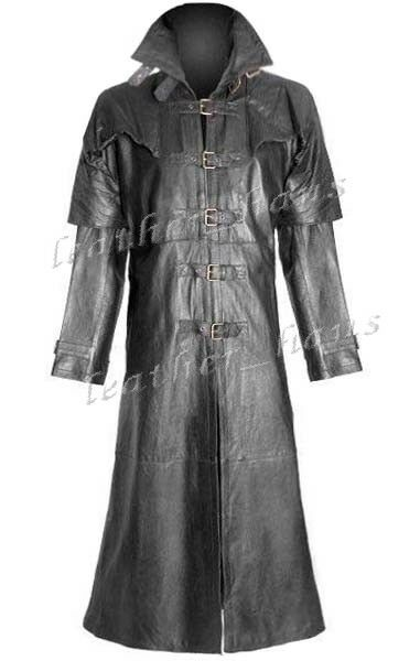 Genuine Cowhide Leather Gothic Steampunk Van Helsing-Inspired Trench Coat