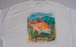 Redfish-T-Shirt-Ocean-Outpost-Mens-White-Tee-Fishing-Cotton-Flats-Outdoors-NEW