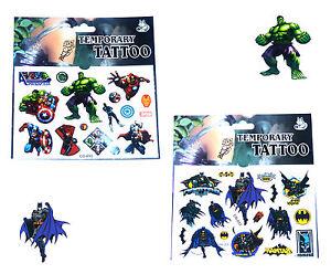 1-BATMAN-amp-1-AVENGERS-TATTOO-SHEET-Boys-Kids-Birthday-Party-Bag-Filler-Gifts