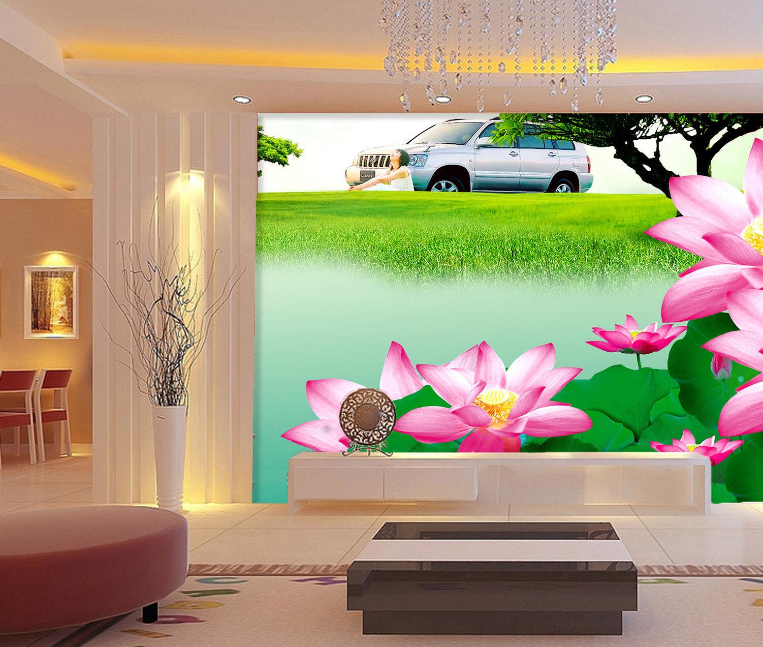 3D Lawn Lotus 82 Wallpaper Mural Paper Wall Print Wallpaper Murals UK Lemon