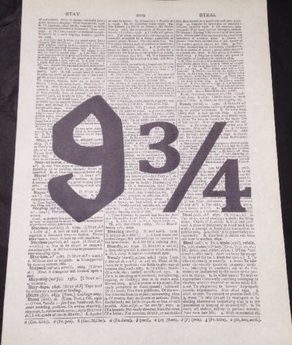 Harry Potter plateforme 9 3//4 dictionnaire Vintage Print Page Wall Art photo