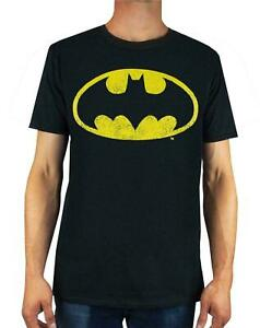 Batman-Distressed-Logo-Men-039-s-Adults-Black-T-Shirt-Top