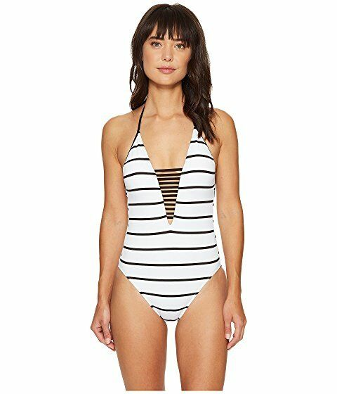 Seafolly  Castaway Stripe Deep V Maillot Swimsuit Women's sz 4 US White