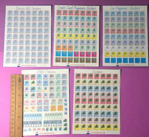 Agenda Stickers 6 Pack Lot expenses stickers kit Budget Planner Sticker Kit