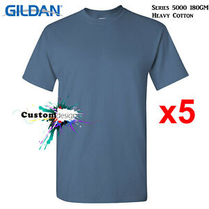 5-Pk-Gildan-Indigo-Blue-T-SHIRT-Basic-Tee-S-5XL-Men-Heavy-Cotton