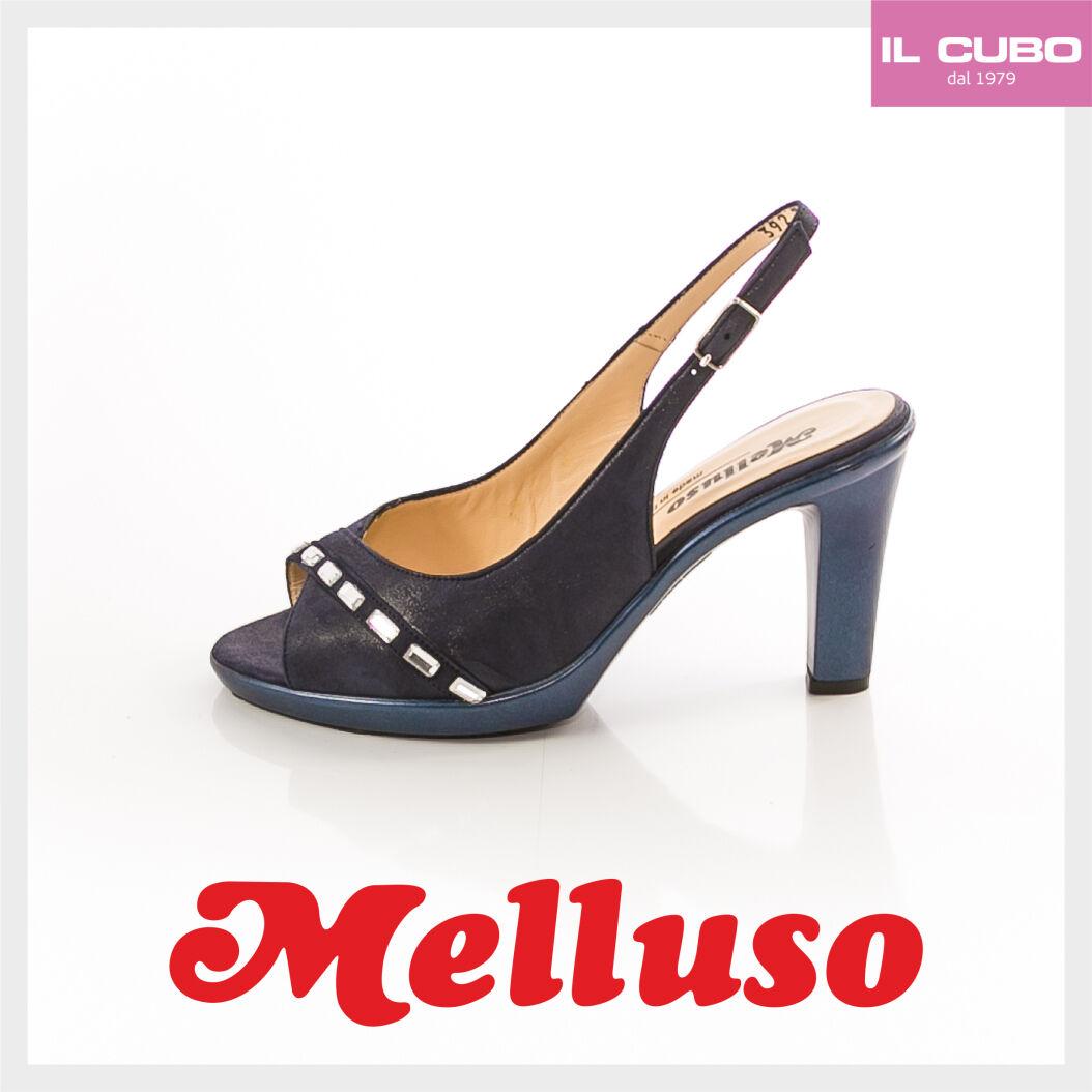 MELLUSO SANDALO SCARPA  Damens CAMOSCIO COLORE BLU TACCO H 8,5  CM MADE IN ITALY
