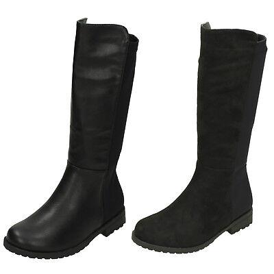H5083 Girls Black Spot On Knee High Fashion Long Boots