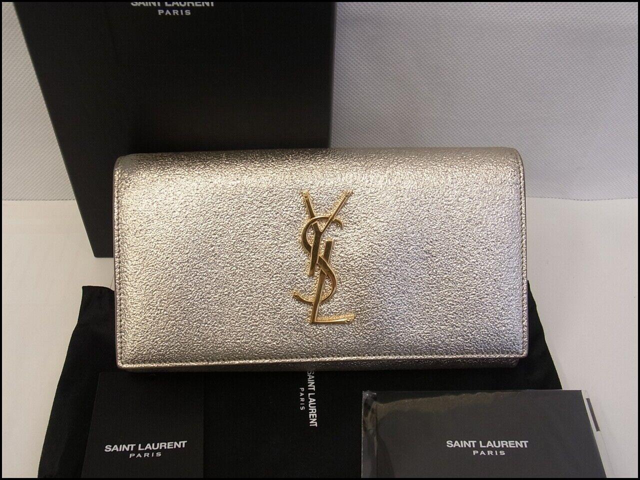 Auth KAN13 SAINT LAURENT Cassandra flap wallet YSL Gold hardware from Japan