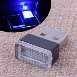 Detalles de 1 PC Mini USB azul LED Coche Interior Luz Neón Atmósfera Ambiente Lámpara