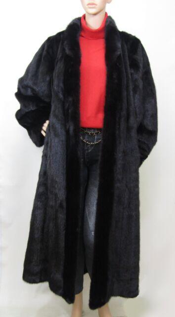 REAL MINK FUR ALMOST BLACK MAXI LENGTH SWING COAT 10-12-14-16/XL UK VISONE NERZ