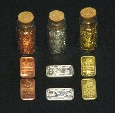 24 in Silver Chain of GOLD leaf flakes in ¾ X ½ inch glass vial sealed with cork