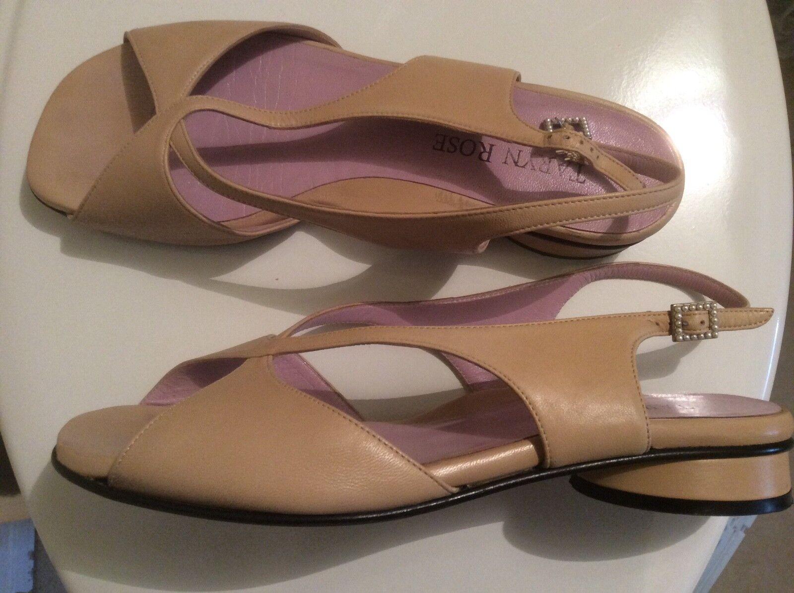 Taryn pink Sandals 38.5 M Beige slingback pearl buckle sandals EUC