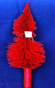 Crate & Barrel Christmas Tree Topper - Red Glitter Tree ...