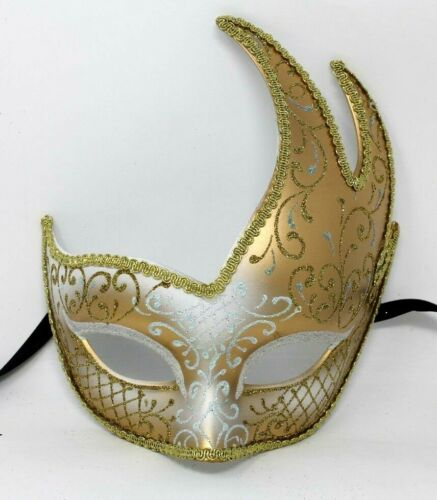 GOLD AND WINTER WHITE  VENETIAN MASQUERADE BALL CARNIVAL PROM PARTY EYE MASK
