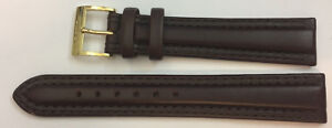 18mm-Rado-Real-Leather-Watch-Strap-Dark-Brown-Gold-Plated-Buckle-Clasp