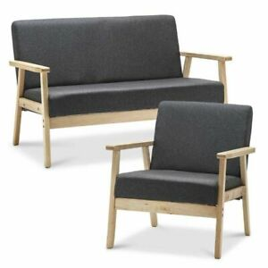 Strange Details About Dark Grey Fabric Retro Single Double Seater Accent Armchair Small Sofa Lounge Theyellowbook Wood Chair Design Ideas Theyellowbookinfo