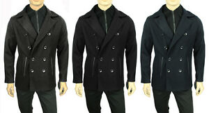 NEW-MENS-KENNETH-COLE-REACTION-WOOL-BLEND-BIB-FRONT-LEATHER-TRIM-PEA-COAT-219