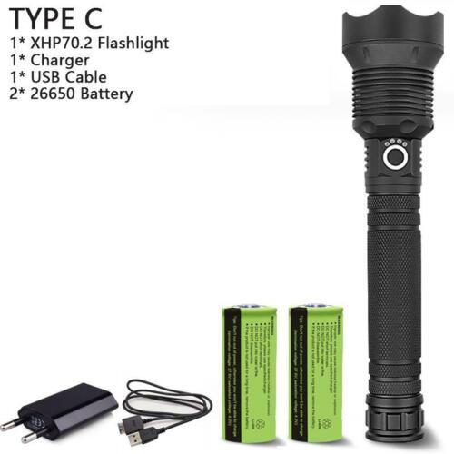 120000 lumens XLamp XHP70.2 Powerful LED Flashlight USB Zoom Tactical Torch