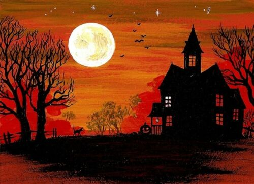 ACEO HALLOWEEN PRINT OF PAINTING RYTA BLACK CAT FOLK ART HAUNTED HOUSE MOONLIGHT