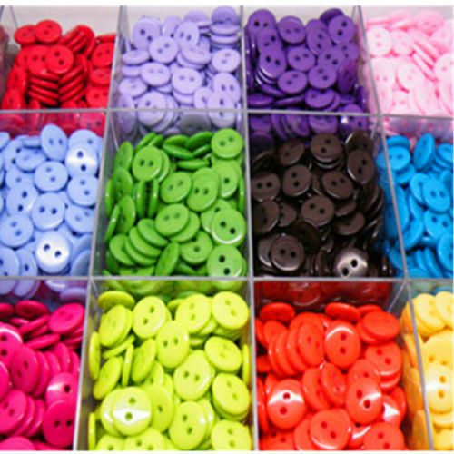 100//200pc Resin Buttons Mixed colors craft crapbook sewing 15mm 2 Holes Round