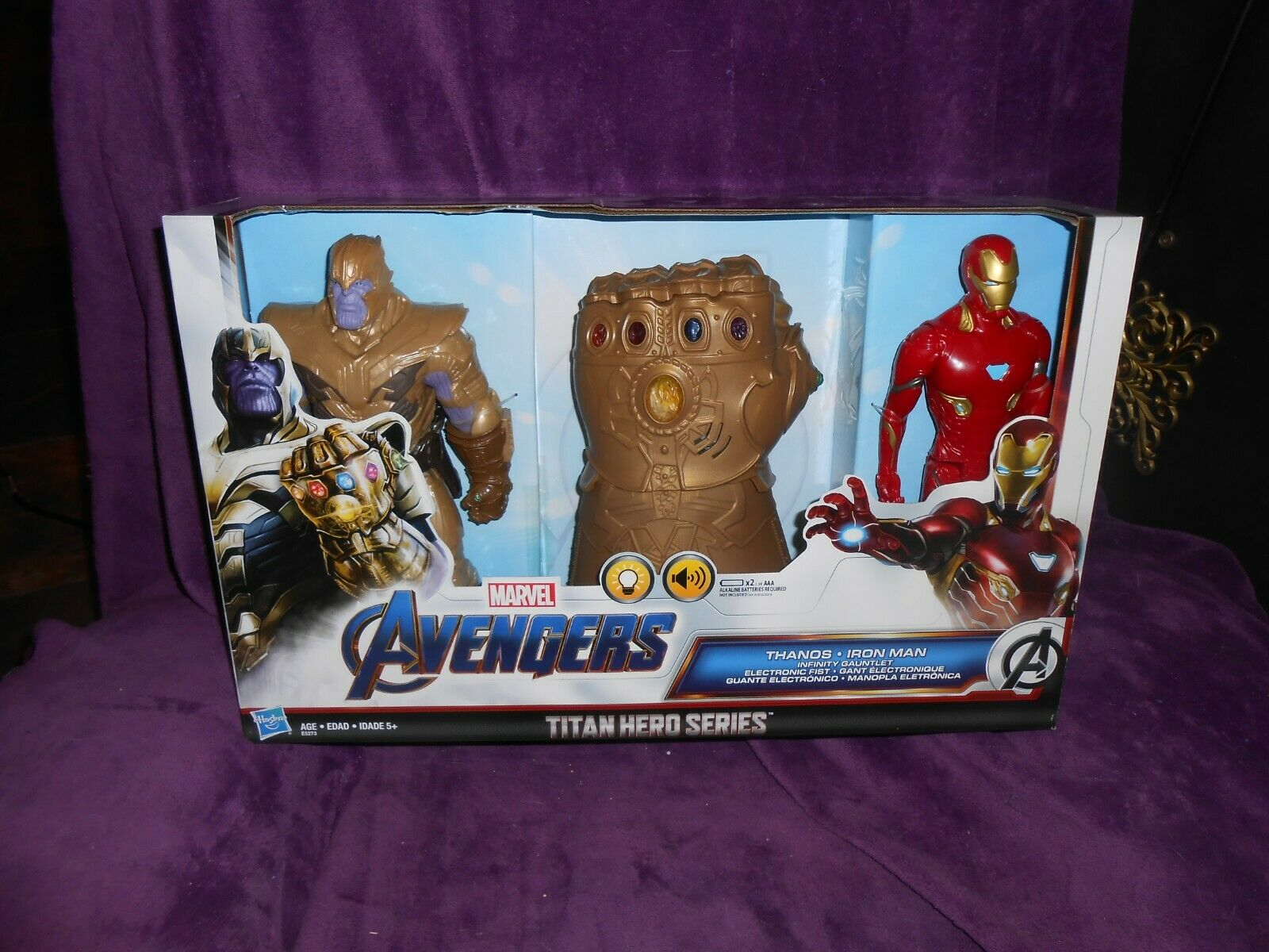 Marvel Avengers Titan Hero Series Thanos Iron uomo Infinity Gauntlet nuovo