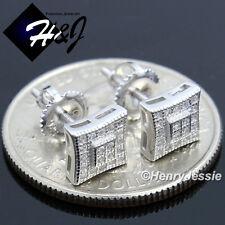 MEN WOMEN 925 STERLING SILVER 7MM LAB DIAMOND ICED SCREW BACK STUD EARRING*E134