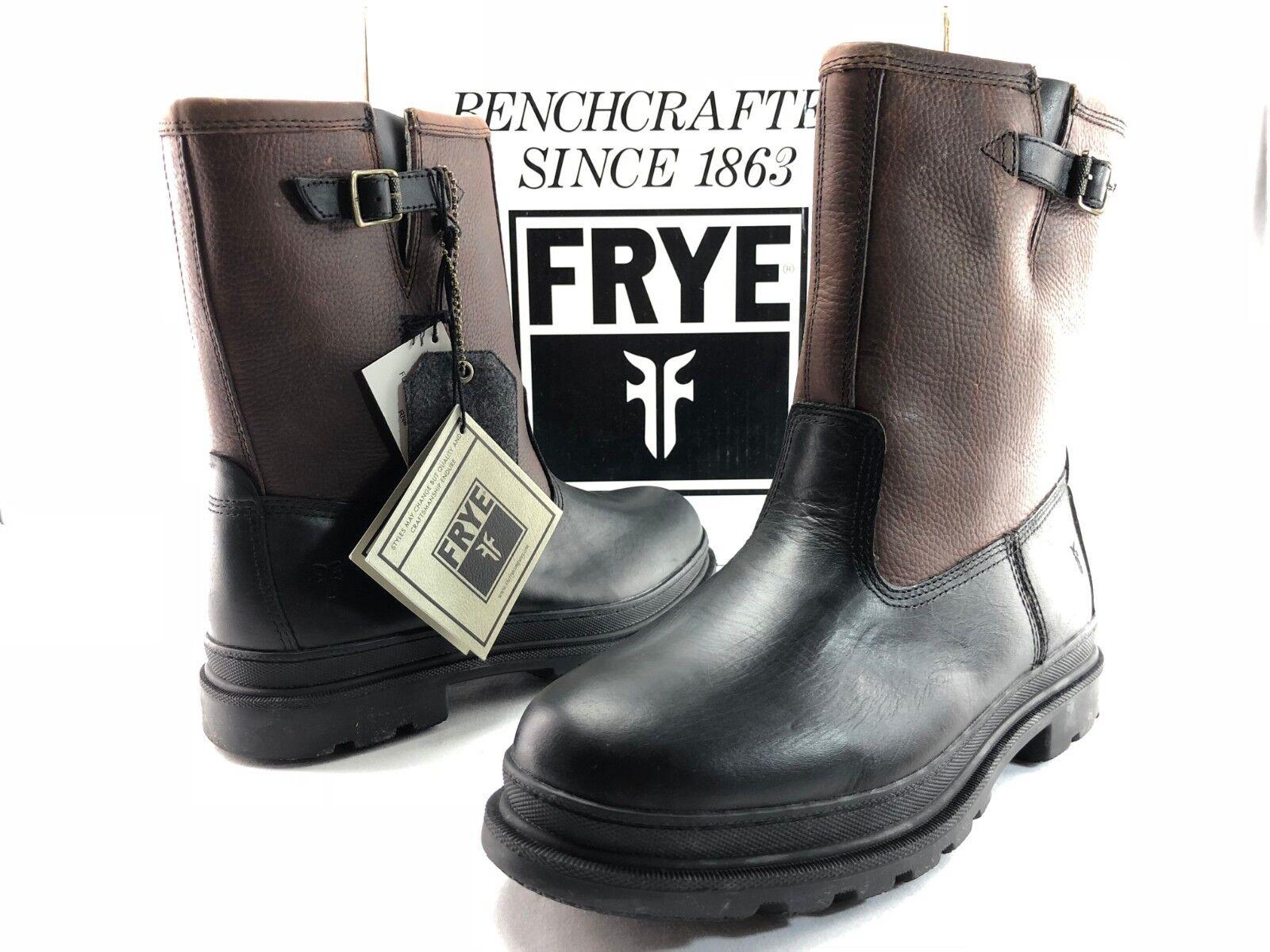 Frye Riley para Hombre Marrón Negro Cuero tire de Lana Forrada De Invierno botas US 10.5 C579