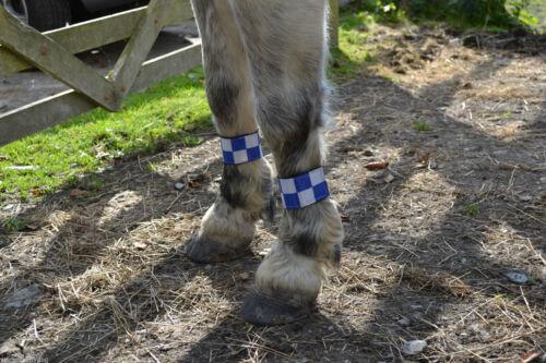 2 BLUE /& SILVER CHECK HI VIZ REFLECTIVE FLUORESCENT FLEECE LINED LEG WRAPS BANDS