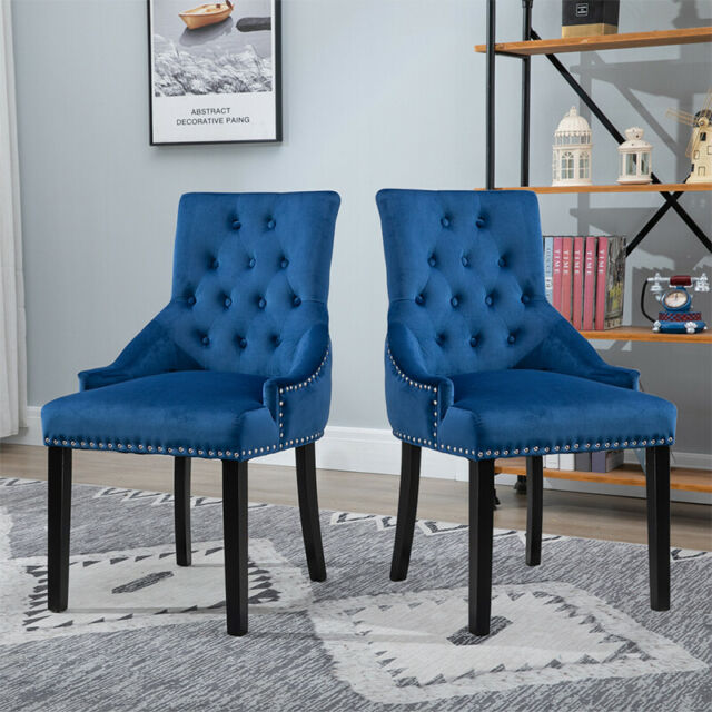 Peachy 2Pcs Dining Chair Button Tufted Velvet Chairs With Knocker Accent Chairs Blue Uk Pdpeps Interior Chair Design Pdpepsorg