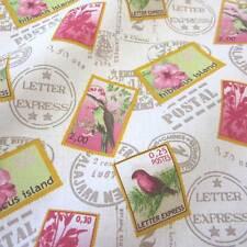 Stoff Meterware Baumwolle Briefmarken Vogel Vögel weiß pink Stempel Post Neu