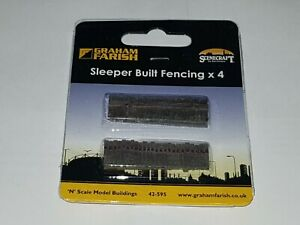 N-Gauge-Graham-Farish-42-595-Scenecraft-Sleeper-Built-Fencing-4pcs-Pre-Built
