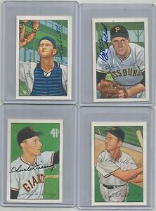 1952-BOWMAN-reprint-AUTO-signed-CHUCK-DIERING-set-CARD-198-GIANTS-baseball-team