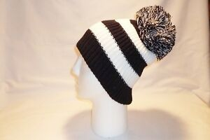 Image is loading LUXURY-BLACK-AND-WHITE-STRIPED-BOBBLE-HAT-BEANIE- 21ce53e52f60