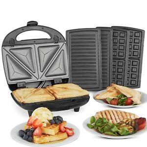 VonShef Sandwich Toaster Waffle Maker Iron Toastie Grill Panini Press 3 in 1     5060351499095