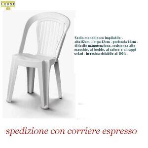 Sedie Plastica Senza Braccioli.Dettagli Su 6 Sedie In Plastica Giardino Senza Braccioli Colore Bianca Modello Matilde