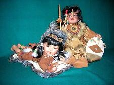Künstlerpuppen Indianer Kinder Porzellan je ca. 40cm