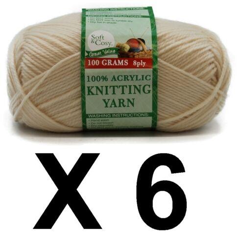Knitting wool 6 x 100g acrylic yarn 8ply Off White 100/% Brand New