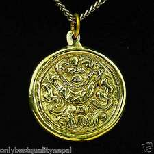 Amulett Buddha Anhänger goldener Talisman aus Messing Glücks Symbol a89