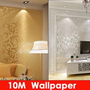 10m Luxury 3d Victorian Damask Embossed Wallpaper Rolls Home Art